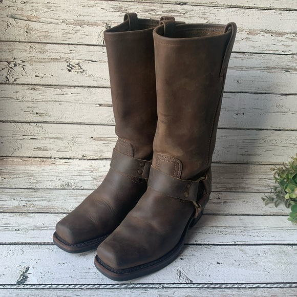 Frye Shoes - FRYE Harness Mid Calf Pull-On Moto Boots Size 6